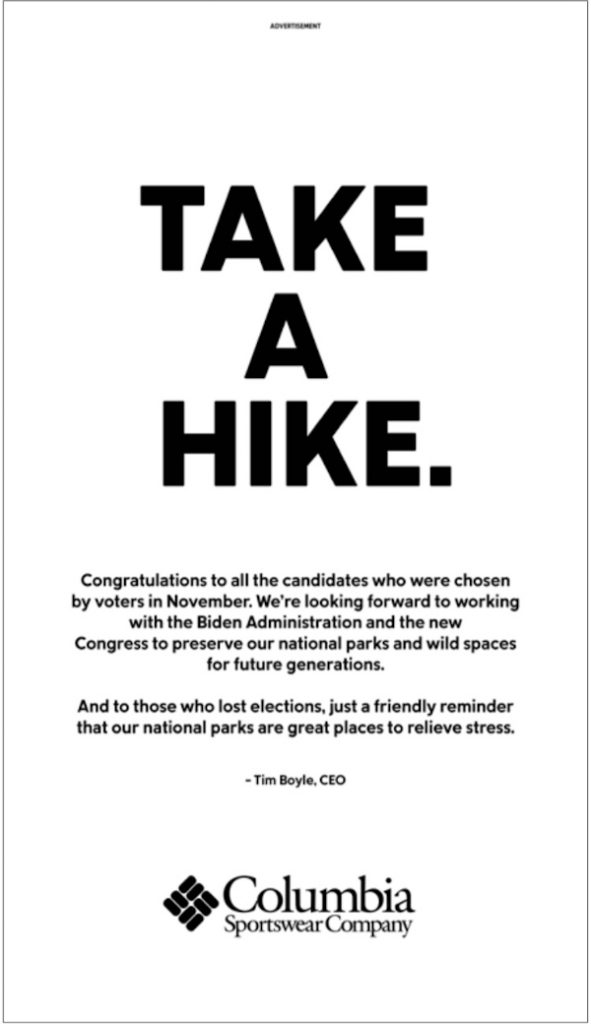 Take a Hike - Message from the Columbia Sportsware CEO