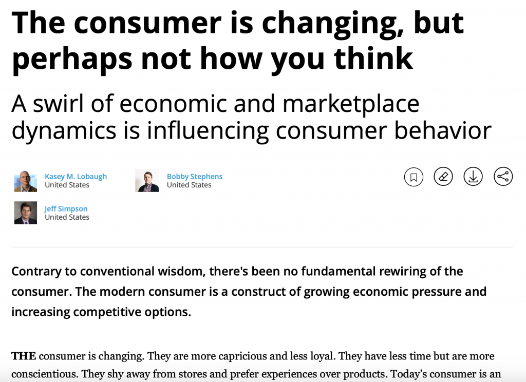 The consumer is changing but perhaps not how you think